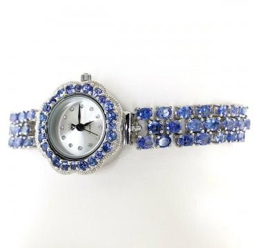 Часы Серебряные с Фиолетово-Синим Танзанитом для Женщин