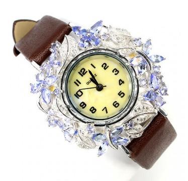 Уникальные Женские Серебряные Часы на Кожаном Ремешке с Танзанитом