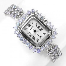 Великолепные Женские Серебряные Часы с Природным Синим Танзанитом