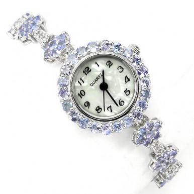 Элегантные Наручные Женские Часы из Серебра с Танзанитом и Топазом
