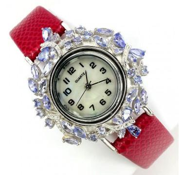 Красивые Серебряные Женские Часы с Танзанитом с Кожаным Ремешком