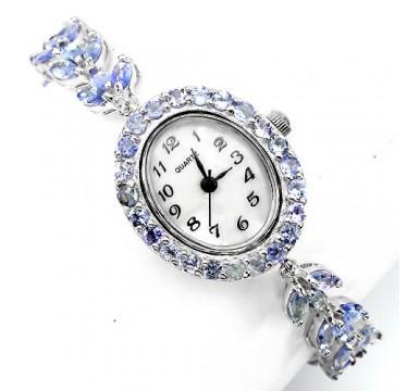 Сияющие Серебряные Женские Часы на Руку с натуральным Танзанитом