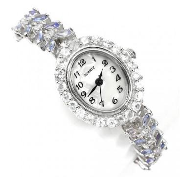 Драгоценные Серебряные Часы для Дам с Натуральным Танзанитом и Топазом