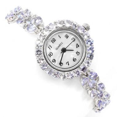 Очаровательные Женские Часы из Серебра 925 пробы с Натуральным Танзанитом