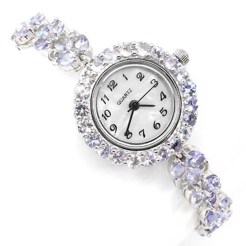 822b59a4 Очаровательные Женские Часы из Серебра 925 пробы с Натуральным Танзанитом