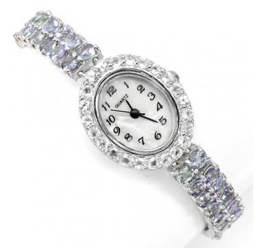 Роскошные Серебряные Женские Часы с Танзанитом и Белым Топазом