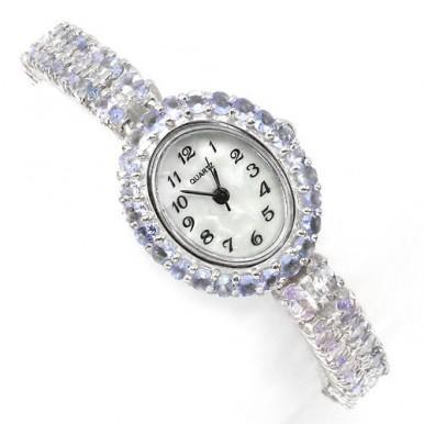 Блестящие Серебряные 925 Пробы Женские Часы на Руку с Синим Танзанитом