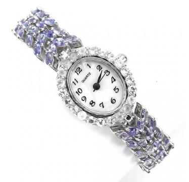 Эксклюзивные Женские Серебряные Часы на Руку с Танзанитом и Топазом