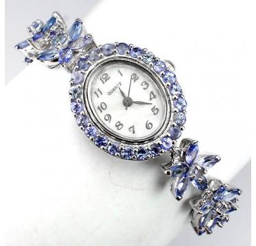 Восхитительные 925 Серебряные Женские Часы с Синим Танзанитом