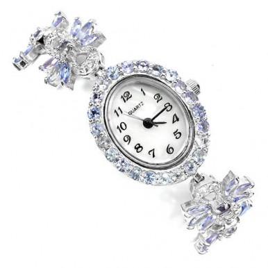 Прелестные Серебряные Часы для Женщин с Натуральным Танзанитом и Топазом