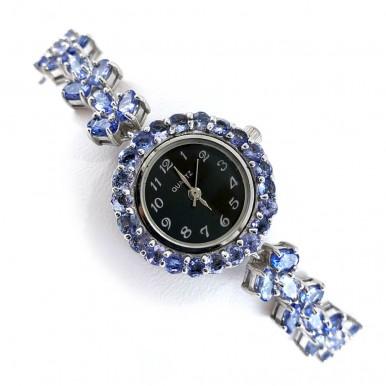 Потрясающий Натуральный Танзанит Серебряные Женские Часы