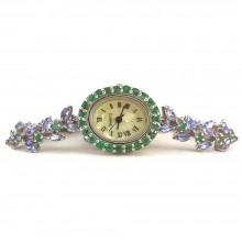 Серебряные Женские Часы на Руку с Натуральным Танзанитом и Изумрудом