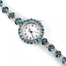 Прекрасные Женские Наручные Часы из Серебра с Голубым Топазом