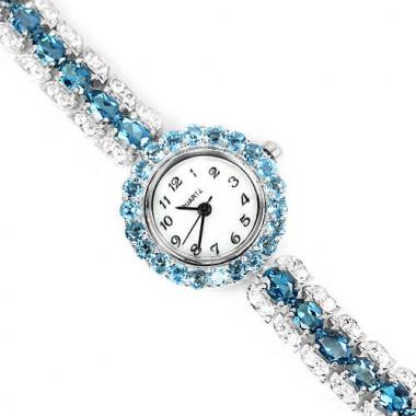Восхитительные Серебряные Ювелирные Часы с Голубым Топазом для Дам