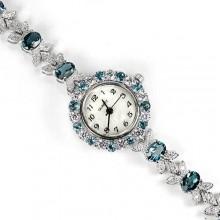 Ювелирные Наручные Часы из Серебра для Дам с Натуральным Голубы Топазом