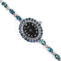Милые Наручные Часы из Серебра для Дам с Лондон Топазом и Сапфиром