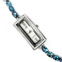 Стильные Серебряные Часы для Женщин с Натуральным Голубым Топазом