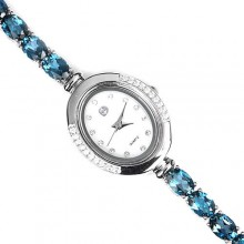 Стильные Наручные Часы из Серебра с Голубым Топазом для Женщин