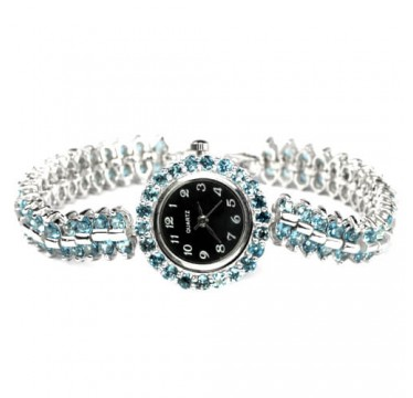 Ослепительный Голубой Лондон Топаз Серебряные Часы Женские