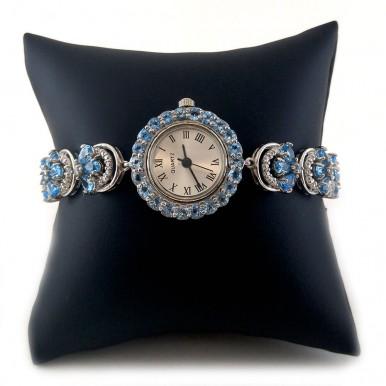 Привлекательные Женские Часы с Голубым Топазом Серебряные