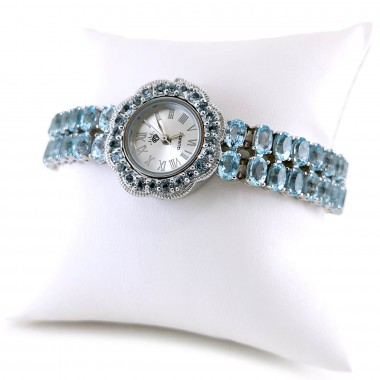 Настоящий Светло-Голубой Топаз Женские Часы Серебро Универсальные
