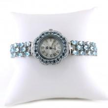 Светло-Голубой Топаз Натуральный Часы из Серебра Регулируемые