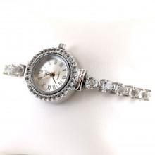 Милые Серебряные Часы с Натуральным Белым Топазом Женские