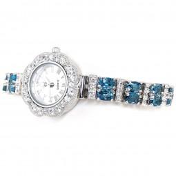 """Тёмно-Голубой """"Лондон"""" Топаз Натуральный Серебряные Часы Женские"""