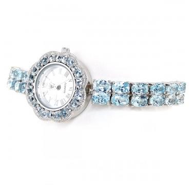 Небесный Голубой Топаз Натуральный Часы Серебряные Женские