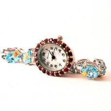Изящные Серебряные Часы с Голубым Топазом и Родолитом для Женщин