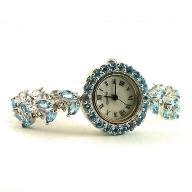 Красивые Серебряные Наручные Женские Часы с Голубым Топазом