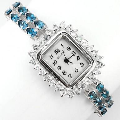 Ослепительные Женские Часы из Серебра с Голубым и Белым Топазом