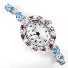 Красивые Женские Наручные Часы из Серебра с Топазом и Родолитом