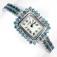 Шикарные Женские Часы из Серебра 925 Пробы с Голубым Лондон Топазом