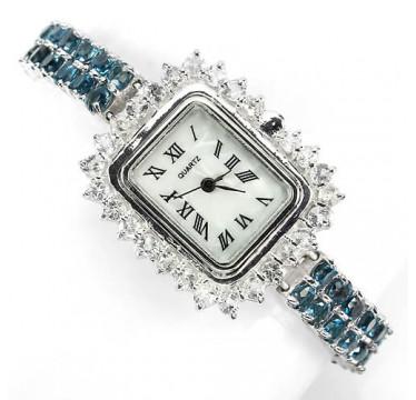 Очаровательные Женские Серебряные Часы с Голубым Лондон Топазом