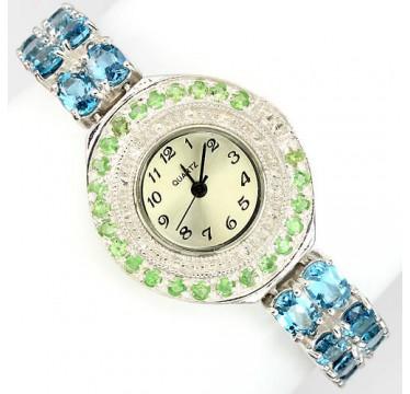 Драгоценные Женские Наручные Часы из Серебра с Голубом Топазом