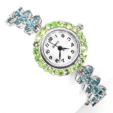 Блестящие Серебряные Женские Часы с Голубым Топазом и Цаворитом