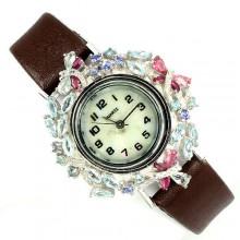 Оригинальные Серебряные Часы на Кожаном Ремешке с Россыпью Камней