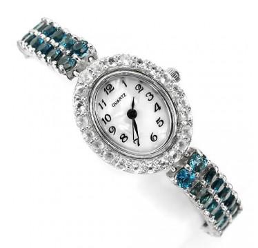 Роскошные Женские Наручные Часы из Серебра с Голубым Топазом