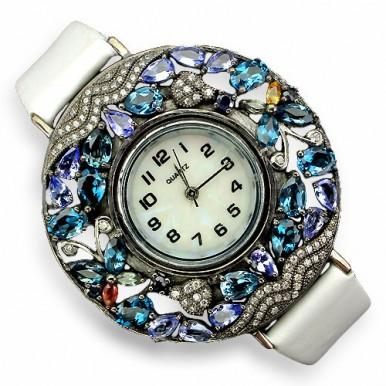 Завораживающие Серебряные Часы на Кожаном Ремешке с Россыпью Камней
