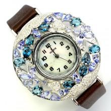 Натуральный Голубой Топаз и Танзанит Серебряные Часы на Кожаном Ремешке