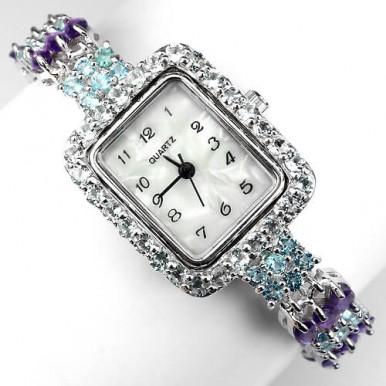 Прелестные Женские Часы из Серебра с Голубым Топазом и Аметистом