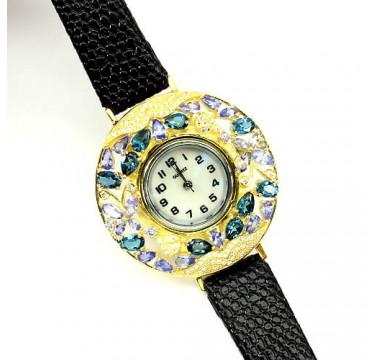 Великолепные Ювелирные Часы на Кожаном Ремешке с Топазом, Танзанитом