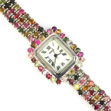 Драгоценные Серебряные Женские Часы с Натуральным Турмалином