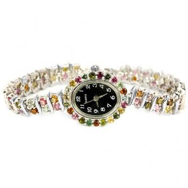Часы Серебряные Женские с Натуральным Разноцветным Турмалином