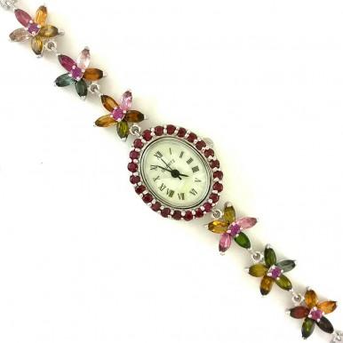 Красивые Женские Серебряные Часы с Разноцветным Турмалином и Гранатом