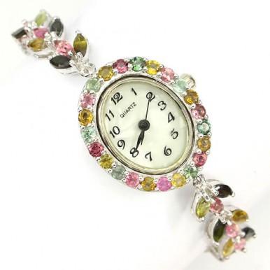 Очаровательные Серебряные Женские Часы с Натуральным Турмалином