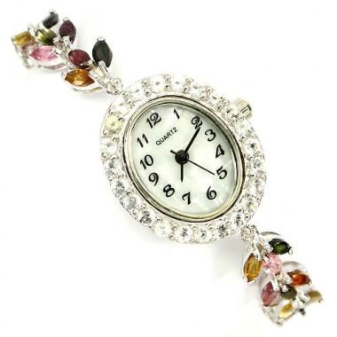 Нежные 925 Серебряные Женские Часы с Турмалином и Белым Топазом