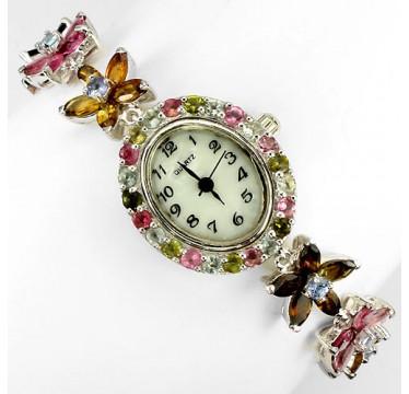 Прелестные Ювелирные Женские Часы с Турмалином и Танзанитом