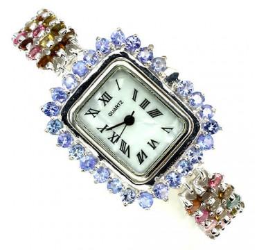 Ювелирные Женские Часы из 925 Серебра с Турмалином и Танзанитом